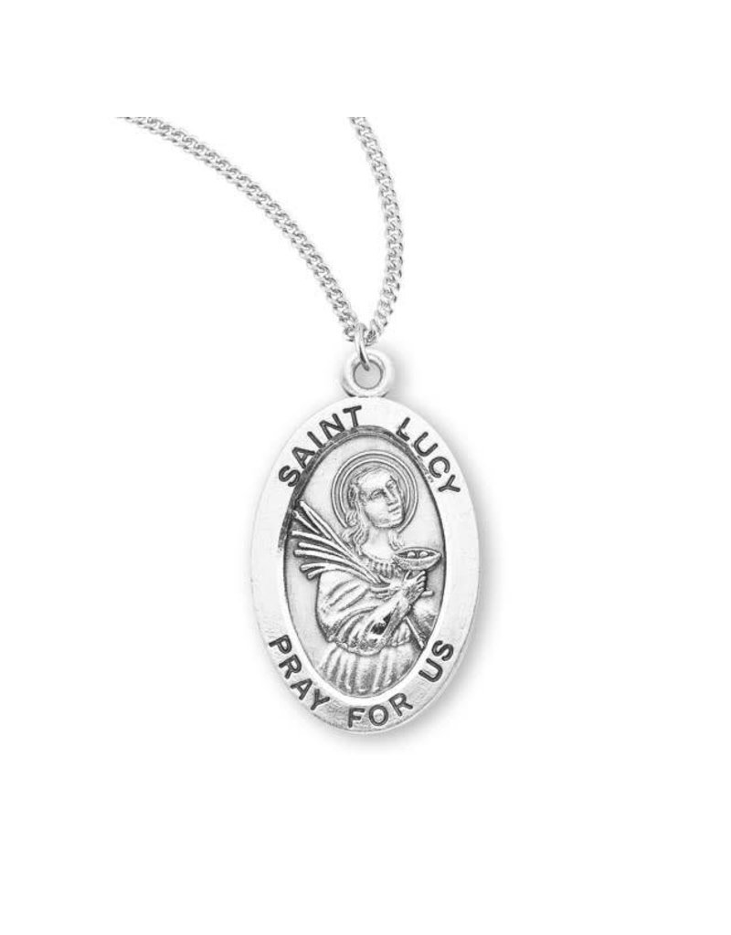 """HMH Religious Sterling Silver St. Lucy Medal With 18"""" Chain Necklace"""