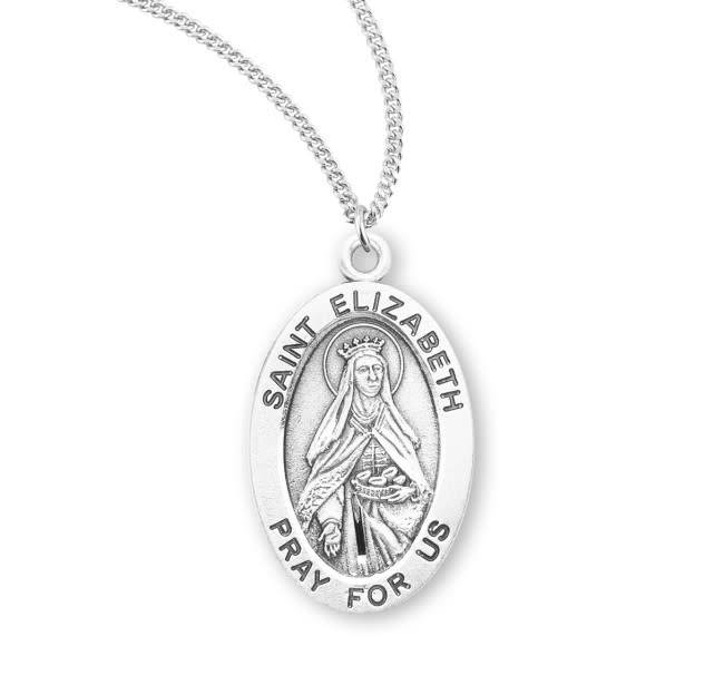 """HMH Religious Sterling Silver St. Elizabeth Medal With 18"""" Chain Necklace"""