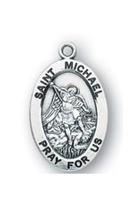 """HMH Religious Sterling Silver St. Michael Medal With 20"""" Chain Necklace"""