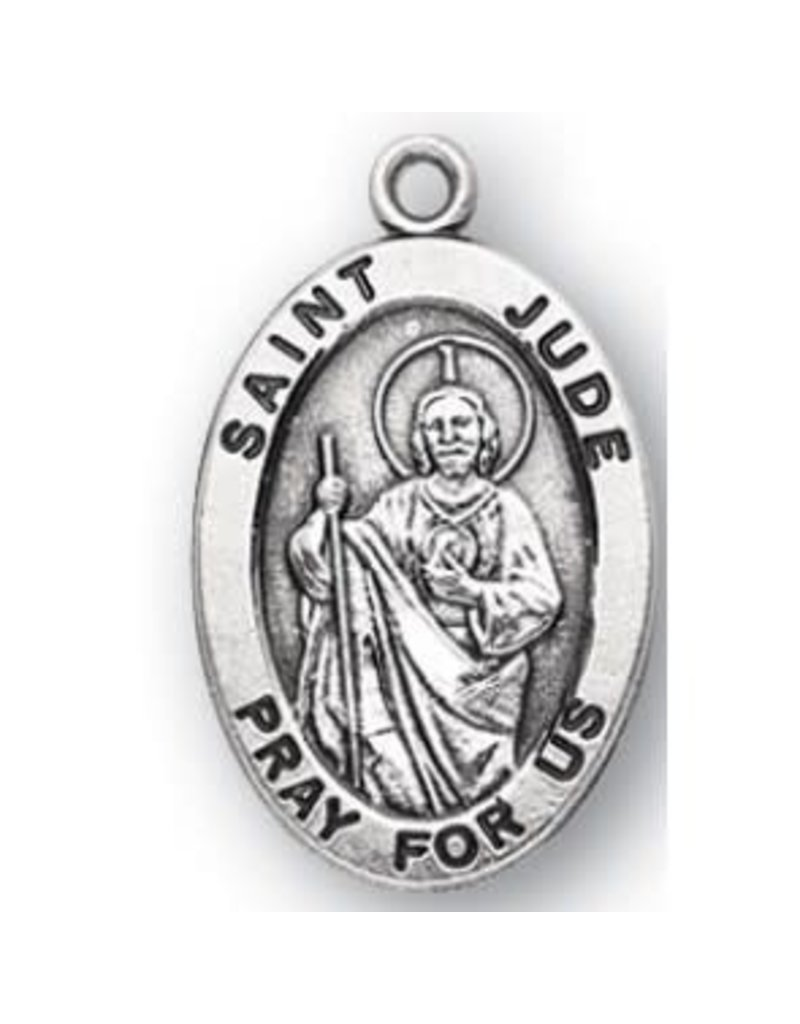 """HMH Religious Sterling Silver St. Jude Medal With 20"""" Chain Necklace"""