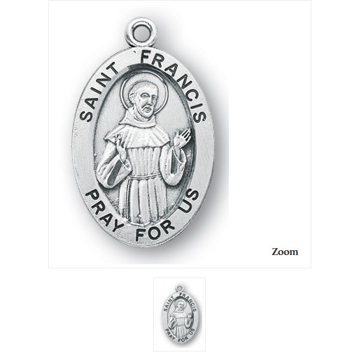 """HMH Religious Sterling Silver St. Francis Medal With 20"""" Chain Necklace"""