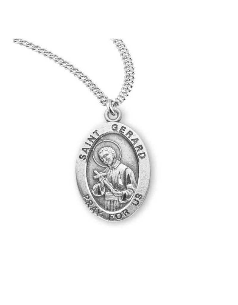 "HMH Religious Sterling Silver St. Gerard Medal With 20"" Chain Necklace"