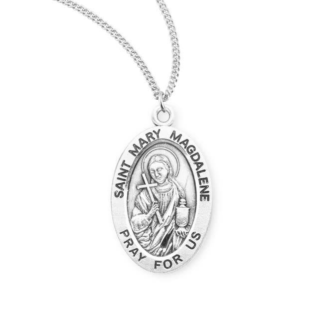 """HMH Religious Sterling Silver St. Mary Magdalene Medal With 18"""" Chain Necklace"""