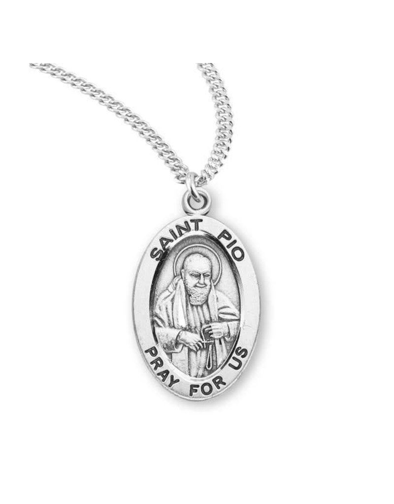 """HMH Religious Sterling Silver St. Pio Medal With 20"""" Chain Necklace"""