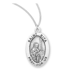 """HMH Religious Sterling Silver St. Rita Medal With 18"""" Chain Necklace"""