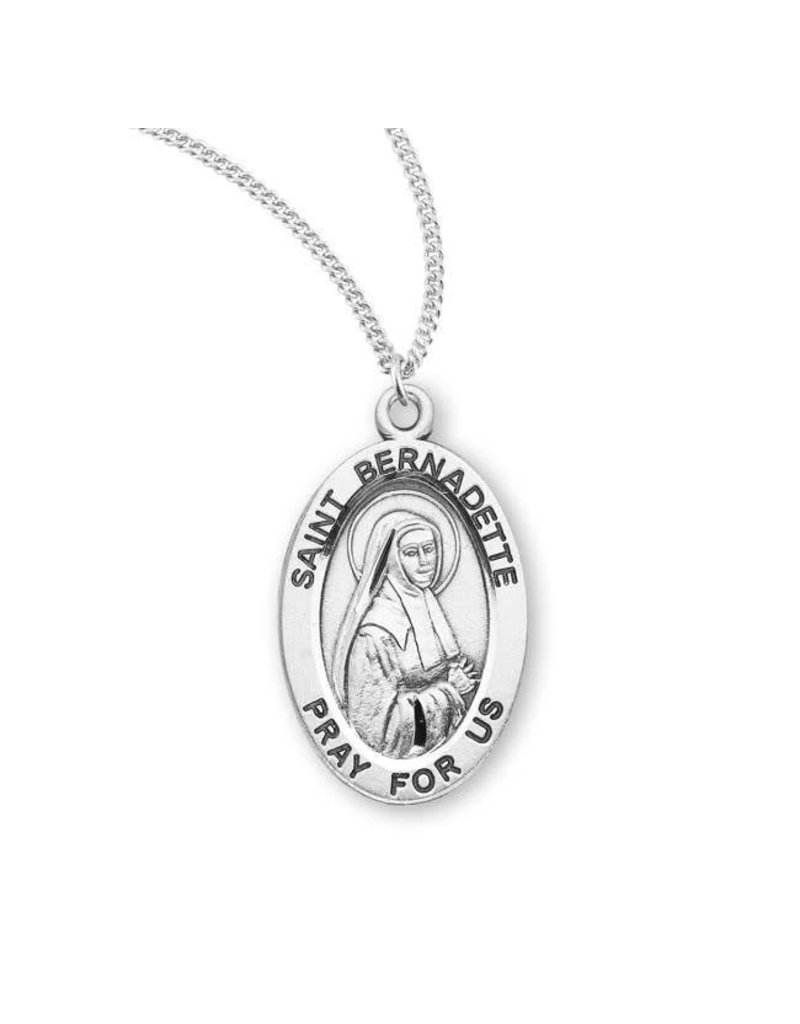 """HMH Religious Sterling Silver St. Bernadette Medal With 18"""" Chain Necklace"""