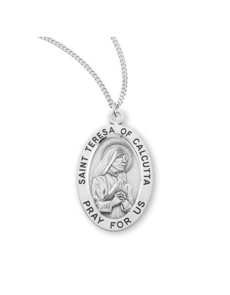 """HMH Religious Sterling Silver St. Teresa of Calcutta Medal With 18"""" Chain Necklace"""