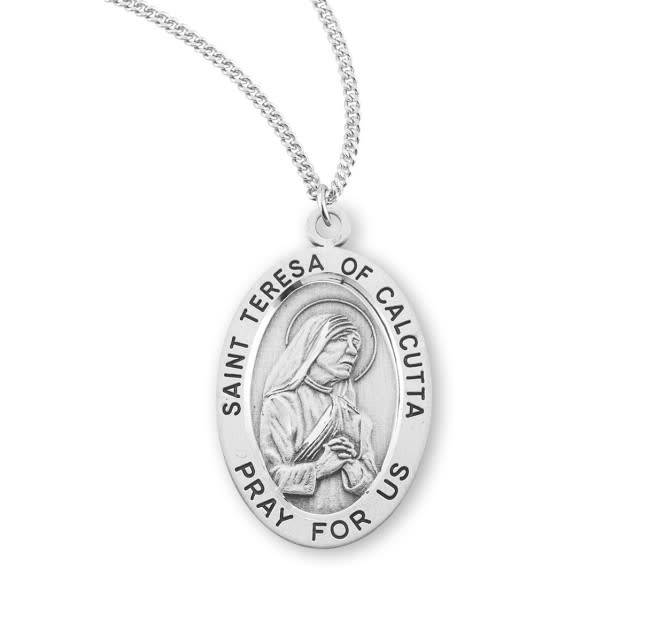 "HMH Religious Sterling Silver St. Teresa of Calcutta Medal With 18"" Chain Necklace"