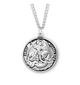"""HMH Religious Sterling Silver Round Saint Michael The Archangel Medal With 18"""" Chain Necklace"""