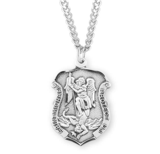 """HMH Religious Sterling Silver St. Michael Archangel Medal With 24"""" Chain Necklace"""