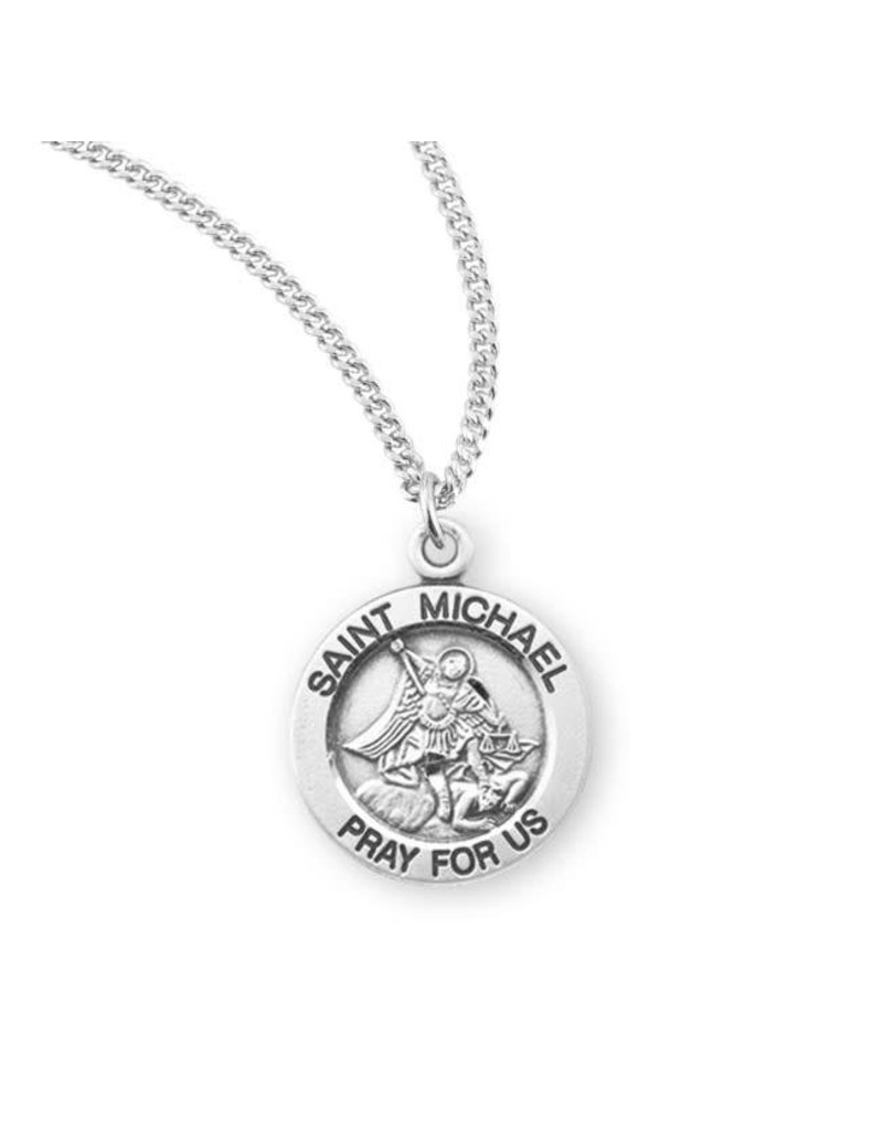 """HMH Religious Sterling Silver St. Michael Archangel Medal With 18"""" Chain Necklace"""