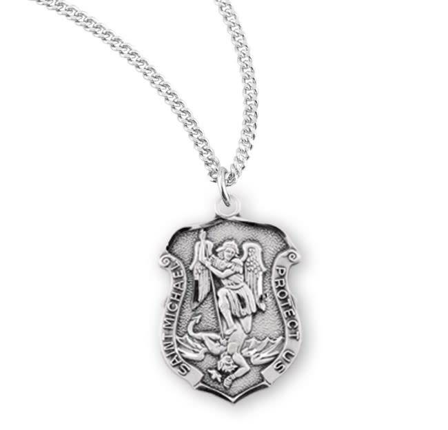 "HMH Religious Sterling Silver St. Michael Archangel Medal With 18"" Chain Necklace"