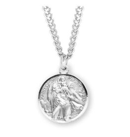 """HMH Religious Sterling Silver St. Raphael and St. Christopher Medal With 24"""" Chain Necklace"""