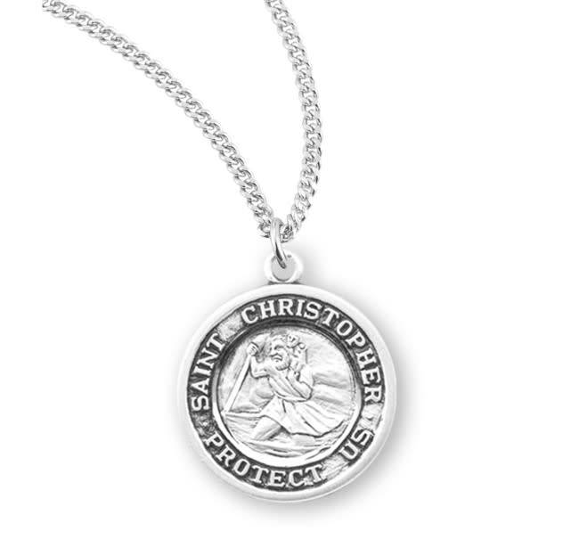 """HMH Religious Sterling Silver St. Christopher Medal With 18"""" Chain Necklace"""