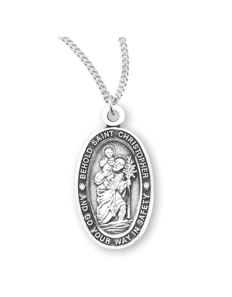 "HMH Religious Sterling Silver St. Christopher Medal With 18"" Chain Necklace"
