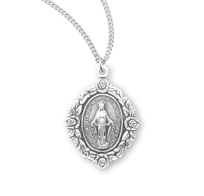"HMH Religious Sterling Silver Miraculous Medal With 18"" Chain Necklace"