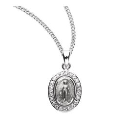 """HMH Religious Sterling Silver Miraculous Medal With 18"""" Chain Necklace"""