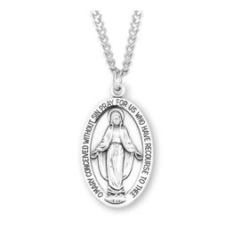"""HMH Religious Sterling Silver Miraculous Medal With 24"""" Chain Necklace"""