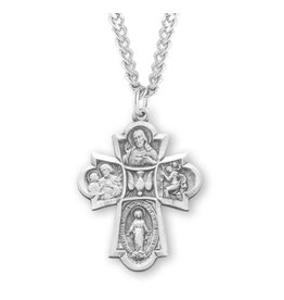 """HMH Religious Sterling Silver Four Way Medal With 24"""" Chain Necklace"""