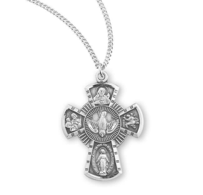 "HMH Religious Sterling Silver Four Way Medal With 18"" Chain Necklace"