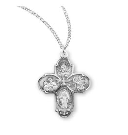"""HMH Religious Sterling Silver Four Way Medal With 18"""" Chain Necklace"""