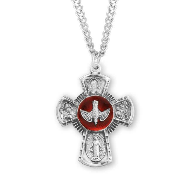 "HMH Religious Sterling Silver Four Way Medal With 24"" Chain Necklace"