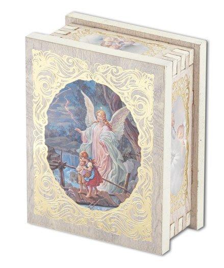 WJ Hirten Guardian Angel Natural Wood Rectangle Rosary Box