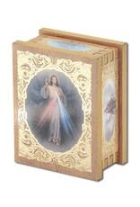 WJ Hirten Divine Mercy Natural Wood Rectangle Rosary Box