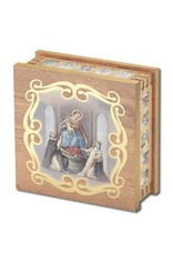 WJ Hirten Our Lady of the Rosary Natural Wood  Rosary Keepsake Box