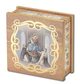 WJ Hirten Our Lady of the Rosary Natural Wood  Rosary Keepsake Box
