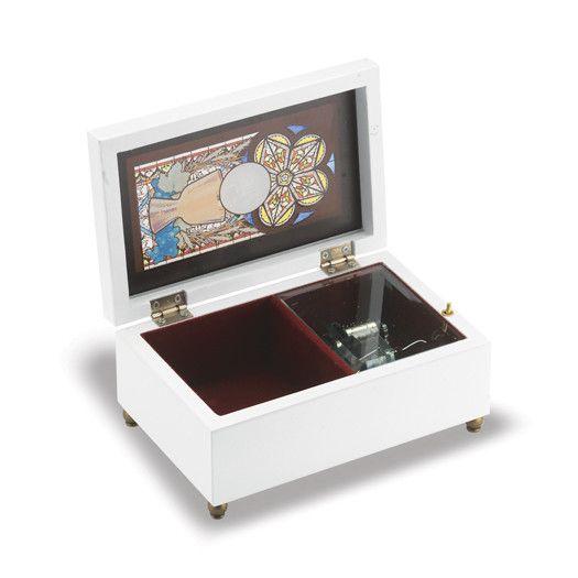 WJ Hirten Holy Communion Stained Glass White Music Box
