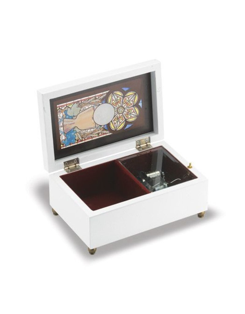 WJ Hirten Holy Communion Stained Glass White Music Box