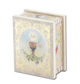 WJ Hirten First Communion White Wooden Keepsake Box