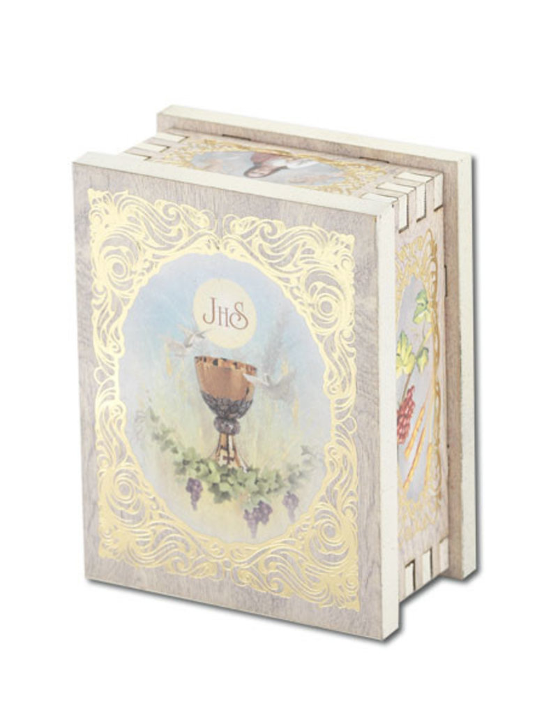 WJ Hirten First Communion White Wooden Keepsake Box