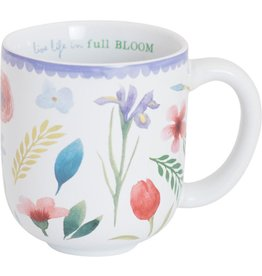 "Carpentree Floral Ceramic Mug ""Live Life in Full Bloom"" Inspirational"