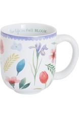 "Carpentree Floral Ceramic Mug ""Live Life in Full Bloom"" Inspirational"
