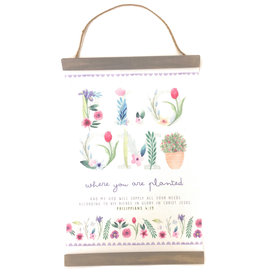 """Carpentree Inspirational Hanging Banner """"Bloom Where You are Planted"""""""