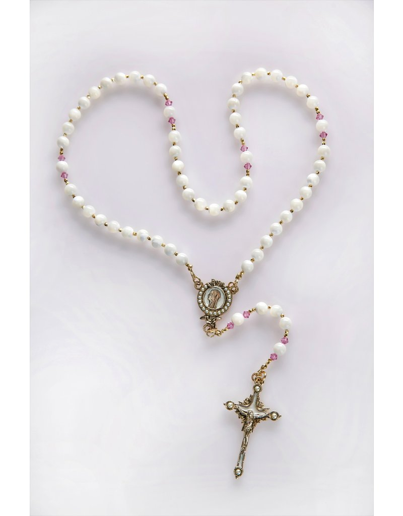Artisan Jewelry Rosaries Mother of Pearl and Pink Rosary Artisan Heirloom Collection
