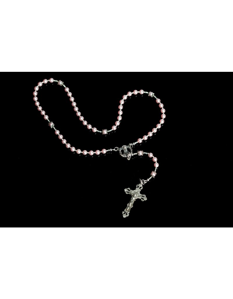 Artisan Jewelry Rosaries Swarovski Pearl Pink Rosary Artisan Heirloom Collection