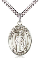 "Bliss Manufacturing St. Thomas A Becket Pewter Medal on 24"" Chain"
