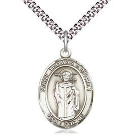 """Bliss Manufacturing St. Thomas A Becket Pewter Medal on 24"""" Chain"""