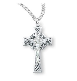"""HMH Religious Sterling Silver Celtic Crucifix on 20"""" Rhodium Plated Chain"""