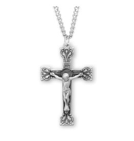 "HMH Religious 1.5"" Sterling Silver Highly Detailed Crucifix on 24"" Chain"