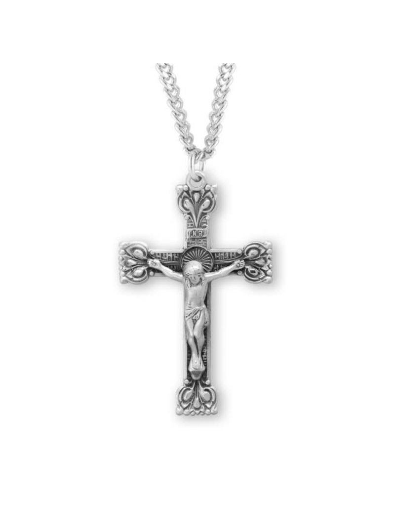 """HMH Religious 1.5"""" Sterling Silver Highly Detailed Crucifix on 24"""" Chain"""