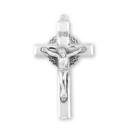 "HMH Religious Sterling Silver Crown of Thorns Crucifix on 24"" Rhodium Plated Chain"