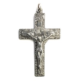 "Wallace Brothers Manufacturing 1.5"" Scrolled Edge Pewter Crucifix"