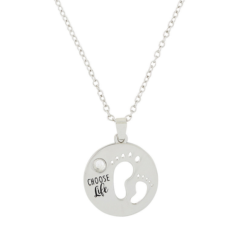 Christian Brands Wonderfully Made ProLife Necklace Choose Life Baby Feet