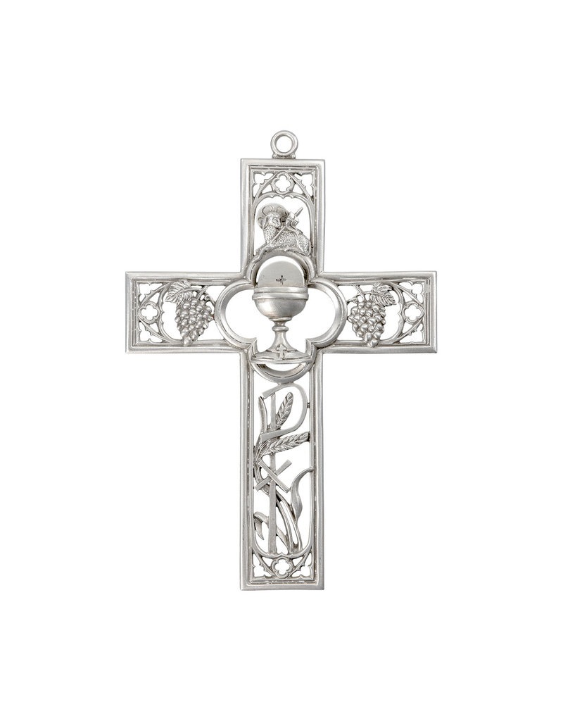 """WJ Hirten 6"""" Cathedral Touch First Communion Cross in Lead-Free Pewter"""