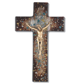 "WJ Hirten 10"" Brown Speckled Glass Crucifix with Golden Corpus"