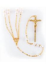 WJ Hirten 8mm Imitation Pearl Lasso Wedding Rosary with Gold Plated Chain, Crucifix, and Center